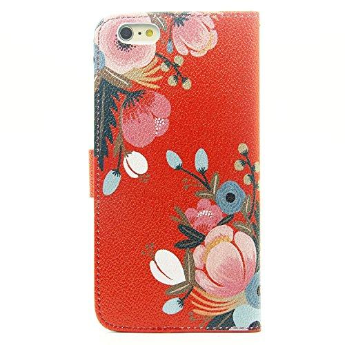 Etsue Apple iPhone 6 Plus/6S Plus 5.5 Coque,Folio Book Style Coque Fermeture Aimanté avec Coloré Mode Motif Cover pour Apple iPhone 6 Plus/6S Plus 5.5,Flip Leather Walllet Case Matériau Intérieur est  Fleur Rouge