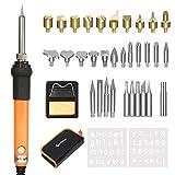39in1 Pirografia Legna Kit&Saldatura Elettrica Kit,GOCHANGE Includere Penna a Saldare a Temperatura Regolabile, 28 Punte Legna Saldatura,5 Punte di Riparazione Saldatura ed Altro Accessorio