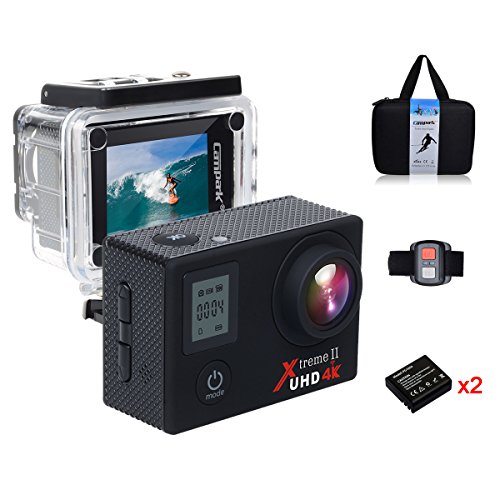 Campark® ACT76 Action Cam Kamera Sports Camcorder 16MP 4K 1080P Wifi mit Dual LCD Bildschirm, 30M Wasserdicht, HDMI Ausgang, 170 Grad Weitwinkelobjektiv, Handgelenk Fernbedienung, Slow-Motion,2 akku, und Professionelle Kameratasche