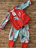 Baby-Set 2-tlg. Pumphose + Wickeljäckchen Drachen Herbst rot-blau Gr. 56-68