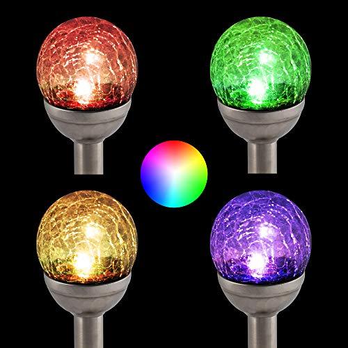 4er Set LED Solar Garten Beleuchtung Edelstahl 7 cm Durchmesser Solarleuchten Set Farbwechsel Terrassen Lampen (4er Set)