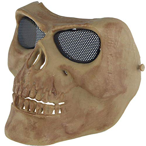Kostüm 117 Spartan - LIBWX Skeleton Half Face Mask Harter Schutz, Paintball Jagd CS Wargame Maskerade Kostüm Party Halloween,D#