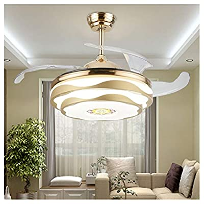 Ceiling Lighting Ceiling Fans with Lamp Modern Crystal Transparent Acrylic Blade Retractable Ceiling Fan Lamp 42-inch Lighting Fan Chandelier Led Lights Fixture -Indoor Lighting