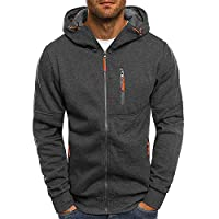Discount Boutique Mens Zipped Sweatshirt Hoodie Sweatshirt Jacket Plain Colour Medium Weight Zip Sweater Top Cardigan Coat Mens Sports and Fitness Jacquard Sweater Cardigan Dark Gray