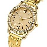 XKC-watches Herrenuhren, Damen Modeuhr Armbanduhr Armbanduhren für den Alltag Quartz Edelstahl Band Bettelarmband Cool Bequem Luxuriös Elegante Silber Gold Rotgold (Farbe : Gold)