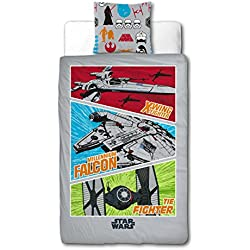 Sahinler/Star Wars Lucas Film 22010034 Disney - Juego de cama funda nórdica de 140 x 200 cm y funda de almohada de 63 x 63 cm, algodón, color gris