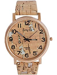 VITREND Lang Di Wood Style Colour Dial And Strap Analog Watch For Men