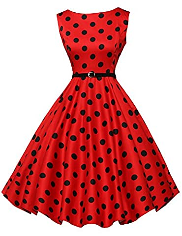 Womens 1940's Vintage Polka Dot Sleeveless Ball Summer Dresses Taille XL CL6086-7