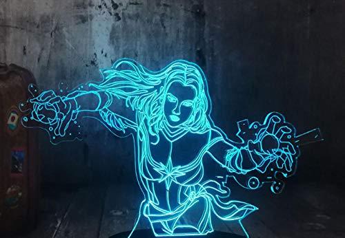 Zcmzcm 3D Nachtlichter Led Weiblicher Superheld 7 Farbenwiedereinbau-Notenschalterkinderschlafzimmer-Wohnzimmerdekorationgeschenk Usb Weißes Chassis
