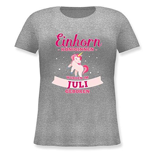 Shirtracer Geburtstag - Einhorn Königinnen Wurden IM Juli Geboren - Lockeres Damen-Shirt in Großen Größen mit Rundhalsausschnitt Grau Meliert