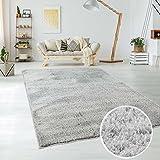 Teppich Hochflor Langflor Shaggy aus Micro-Polyester Einfarbig/ Uni in Silber/ Grau, für Wohn- oder Schlafzimmer, Größe: 160 x 230 cm