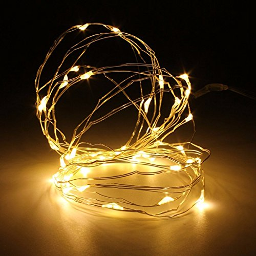 MASUNN 4m 40 LED Silver Wire Fairy String Light Batterie betrieben wasserdicht Xmas Party Dekor-gelb