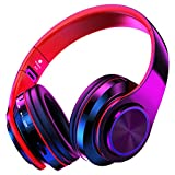 QLtech Bluetooth Headphone Over-Ear, Wireless Headset with Microphone & Cool Led Light, Portable