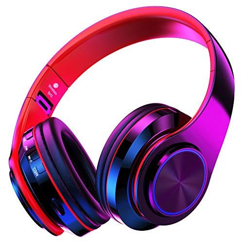 QLtech Kabelloser Over-Ear-Kopfhörer, Bluetooth Kopfhörer mit Mikrofon und LED-Licht,Wireless Headphones für Sport,Wireless Headset für Handys Tablets,Laptops & PC,Faltbare/Leicht (MEHRWEG) (Led-funk-kopfhörer)