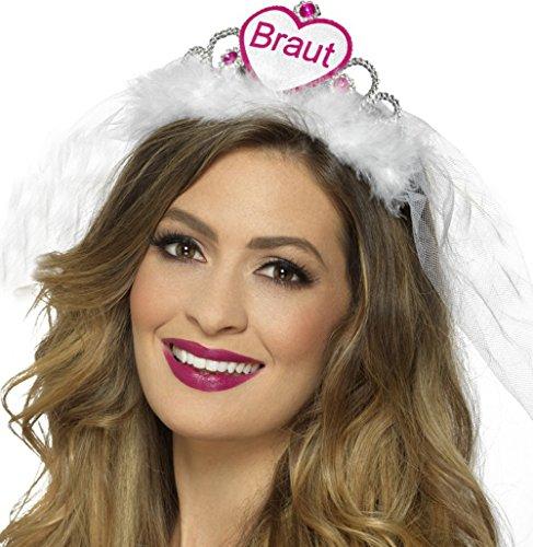 Tiara Diadem und Brautschleier Aufschrift BRAUT in weiß oder pink Junggesellenabschied und Bridal Shower ... (Braut weiß)