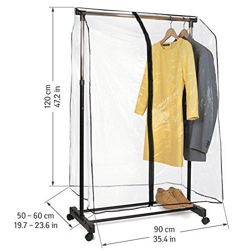 Foto de Tatkraft SMART COVER - Cubierta transparente para carril de ropas, con cremallera, 53x90x120cm