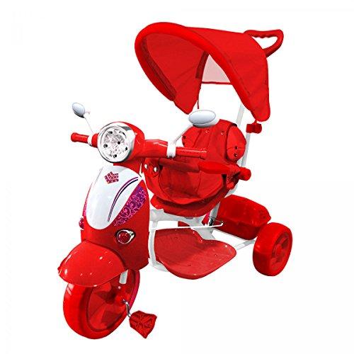 LGV ELETTRONICA SRL Moto Triciclo a Spinta con Pedali Trico Special ROSSO Per Bambini BICICLETTA