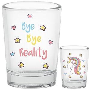 Einhorn Schnapsgläser 5cl Bye Bye Reality 4 Stück Shot-Glas Set Lustig mit Geschenk Karton