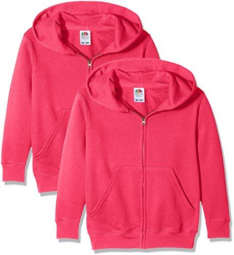 Fruit of the Loom Unisex-Kinder Zip Front Classic Kapuzen-Sweatshirt, Pink (Fuschia 57), 14-15 Jahre (erPack 2 Loom Kinder-zip