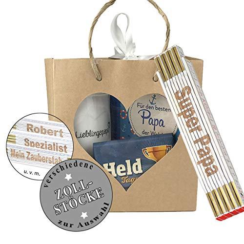 4-teiliges Geschenkset 'Papa' / Zollstock zum auswählen/Tasse / Buch/Schokolade/Geburtstag/Papa / Mann/Vatertag / Männer, Zollstöcke:SUPER Papa