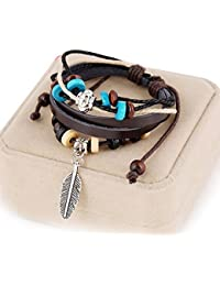 Heartly Fashion Stylish WristBand Leaf Cowhide Leather Wooden Bead Bracelet For Men & Women