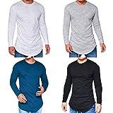 semen Herren Langarm Shirt Baumwoll Longsleeve Slim Fit T-Shirt Leicht Oversize Basic Sweatshirt in vielen Farben
