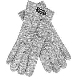 EEM - Guantes de punto Freya para mujer, con patrón trenzado y forro ThinsulateTM, 100% lana, de invierno grau-melange Medium