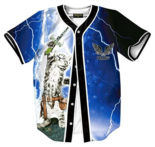 Pizoff Herren Hip Hop 3D Druck Baseball Hemd Urban Classic Baseball Jersey Blitz Katze (Air Jordan Für Große Kinder)