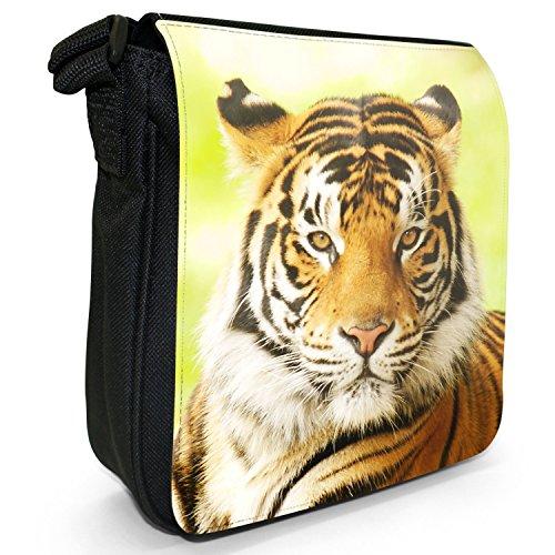 Wild Tigre Borsa a spalla piccola di tela, colore: nero, taglia: S Tiger Staring