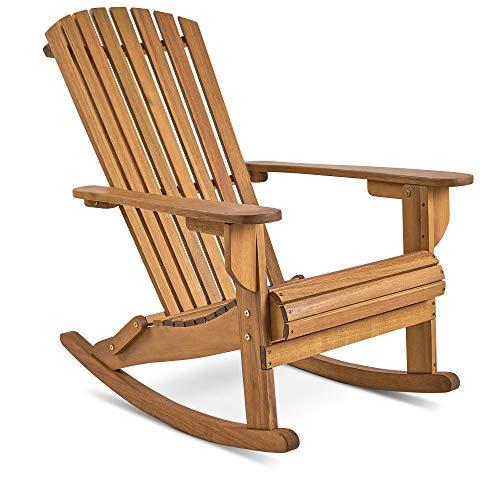 VonHaus Adirondack-Schaukelstuhl - Outdoor Gartenmöbel aus Acacia Hartholz mit geölter Oberfläche -