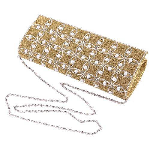 Damara Sac De Soirée Femme Perlé Strass Fleur Bouton Magnétique Mariage Or