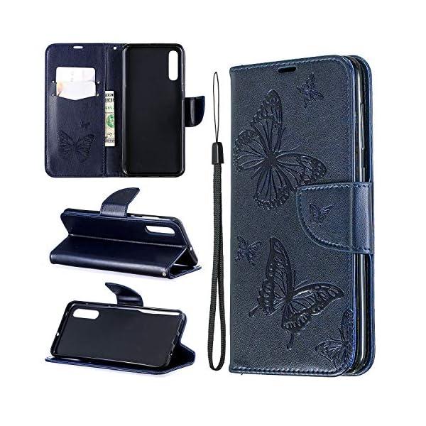 Libro Billetera Funda Samsung Galaxy A50 Funda Cuero Caja Cartera Funda Cuero en TPU Silicone Funda Folio Flip Carcasa… 1