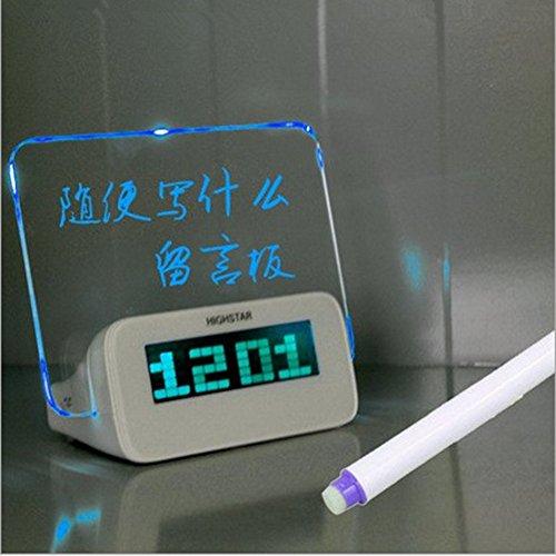Preisvergleich Produktbild ZHGI Kreativ romantischen LED Neon message board,  big-Jahre mute digitaler Wecker Nachtmodus der Uhr, Blu-ray