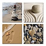 Wieco Art - Romantic Beach Theme 4 Panels Modern Sea Beach Artwork Ocean Giclee Canvas Prints Abstract Seascape Pictures to Photo Paintings on Canvas Wall Art for Home Decorations Wall Décor - Wieco Art - amazon.co.uk