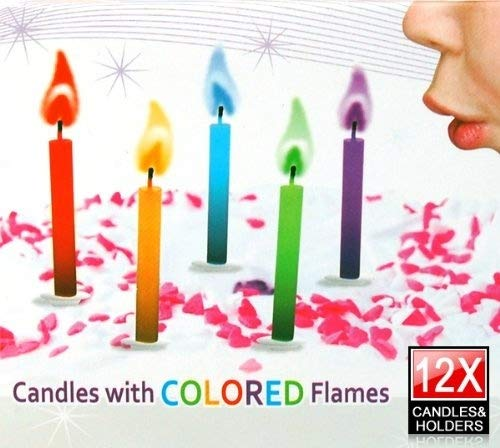 WMA 12 Angel Coloured Flames Coloured Birthday Cake Party Candles by Partyrama