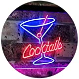 ADVPRO Cocktails Glass Bar Club Beer Décor Dual LED Enseigne Lumineuse Neon Sign Blue & Red 400mm x 300mm st6s43-i2112-br