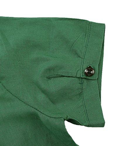 ZANZEA Damen Unregelmäßigen Kurzarm Sommer Lose Boho Langshirt Maxi Mini Kleider Grün