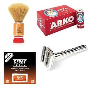 SF199 - Kit traditionnel de rasage comprenant un stick de savon à barbe Arko, 10 lames de rasoir à double tranchant Derby Extra, un petit blaireau artisanal et un rasoir à double lames de sécurité Shaving Factory !