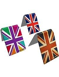 Stray Decor (Union Jack) 3x Étui à Cartes / Porte-Cartes pour Titres de Transport, Passe d'autobus, Cartes de Crédit, Navigo Pass, Passe Navigo et Moneo COMBO