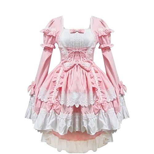 rosa Anime - Lolita - Gothic - mädchen Halloween verkleiden Cosplay - kostüme schickes Kleid - Rosa Belle Kostüm