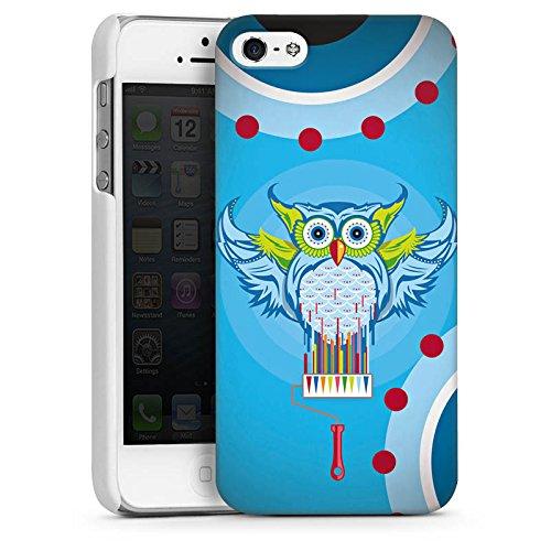 Apple iPhone 5s Housse Étui Protection Coque Hibou Hibou couleurs CasDur blanc