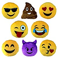 Moji 8PC Bumper Emoji Noisy Cushion Set - Plush Noisy Emoji Character Cushions: Heart, Poo, Cool, Crazy, Crying Laughing, Smile, Devil, Wink, Kiss.