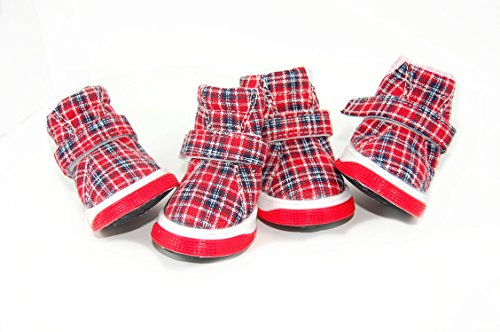 KBL Tartan Plaid Hund Schuhe Plus frei blinkender LED Hund Knochen Night Sicherheit Tag.