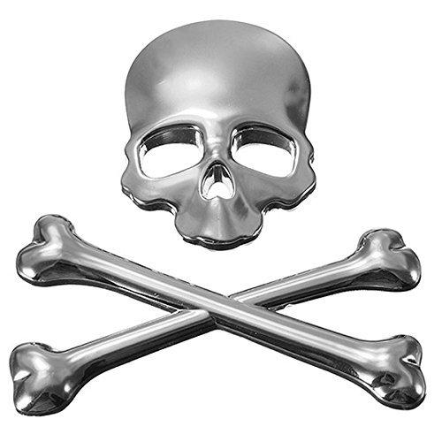 Auto Abzeichen (TOOGOO(R) 3D Schaedel Metall Auto-Aufkleber Auto Motor Skelett Totenkopf Emblem Abzeichen Aufkleber Silber)