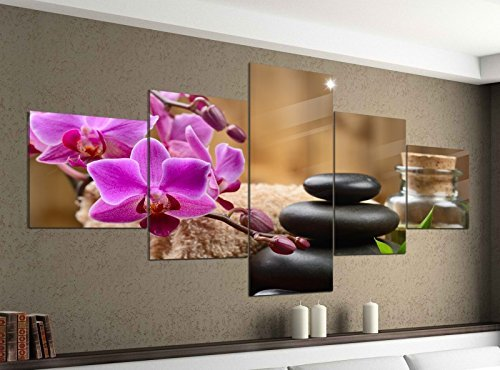 Leinwandbild 5 tlg. 200cmx100cm Wellness Feng Shui Orchidee Steine Bilder Druck auf Leinwand Bild Kunstdruck mehrteilig Holz 9YA565, 5Tlg 200x100cm:5Tlg 200x100cm