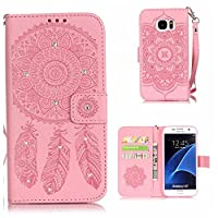 Galaxy S7 Case, KKEIKO® Galaxy S7 Wallet Case, Flip Leather Case and Cover with Bling Rhinestone, Book Style Bumper Cover Case for Samsung Galaxy S7 with Free Tempered Glass Screen Protector (Pink)