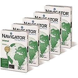 Caja de 5 paquetes 2500 Folios Navigator Universal 5x Paquete 500 hojas A4 80g Multifuncion