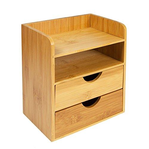 Woodluv, mini organizer portaoggetti da scrivania, con 2mensole e 2cassetti estraibili