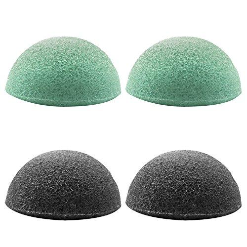 4 pcs 2 couleurs Soft Natural konjac éponge faciale nettoyant éponges pour éliminer l'huile de saleté points noirs lissage de la peau style de l'hémisphère