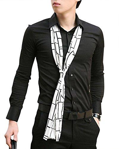 Quge Herren Anzug Hemden Business Freizeit Poloshirts Slim Fit Einfarbig Hemd Langarmhemd Schwarz XL